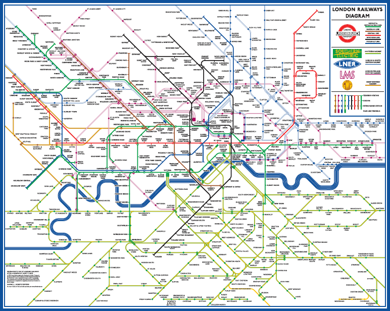 Diagrammatic Map Of London U0026 39 S Railways After A Drawing By