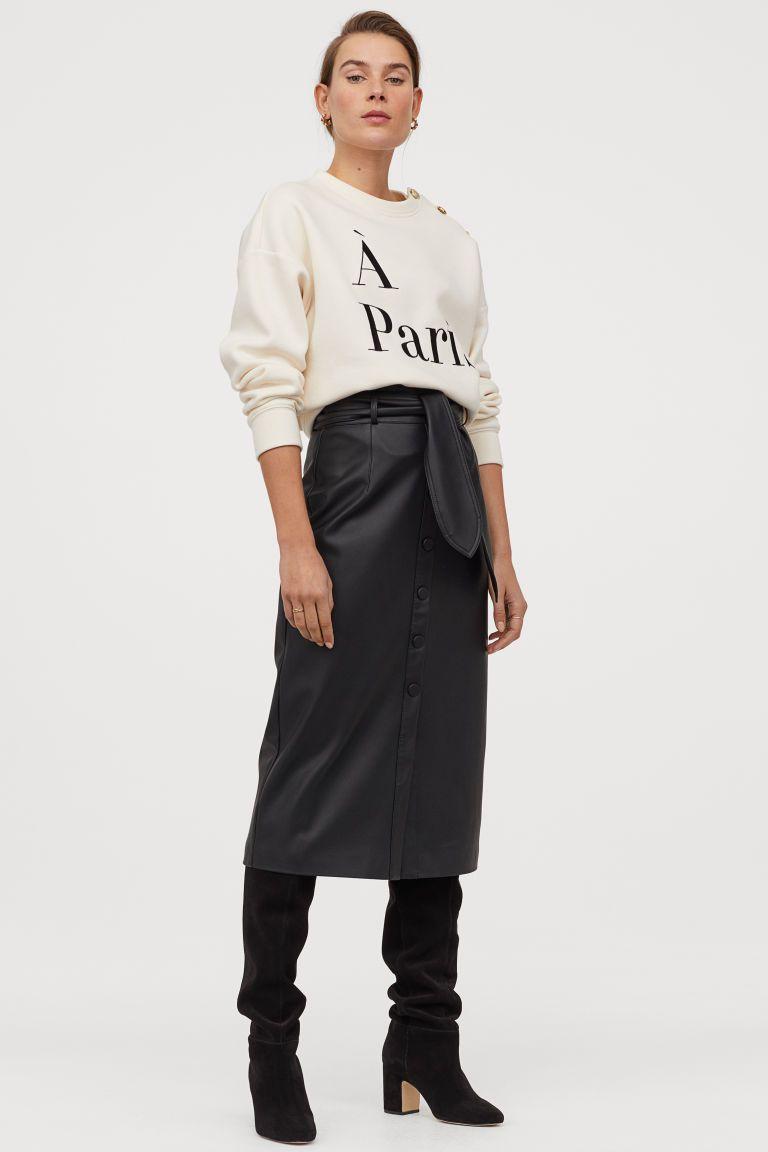 Photo of Faux skinn skjørt – svart – damer | H&M USA