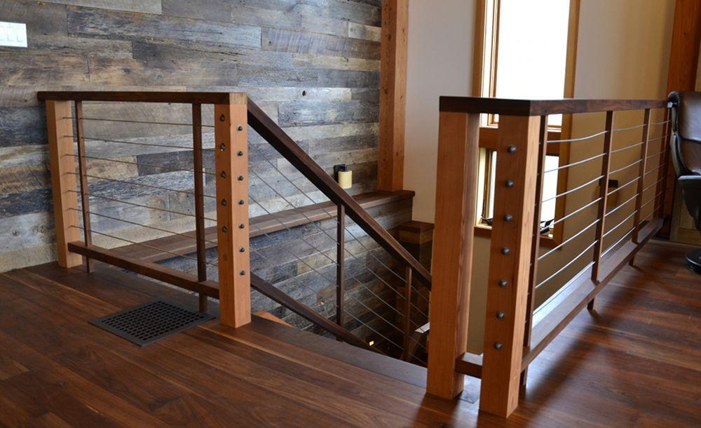 Best Custom Stair Railing Of Douglas Fir Walnut And Stainless 640 x 480