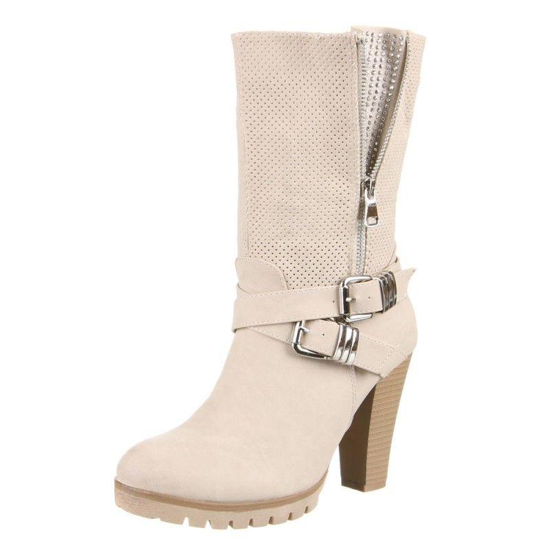 c9b81190e3 Online moda botines a la pantorrilla color blanco crema con cremalleras y  hebillas con tacon cuadrado