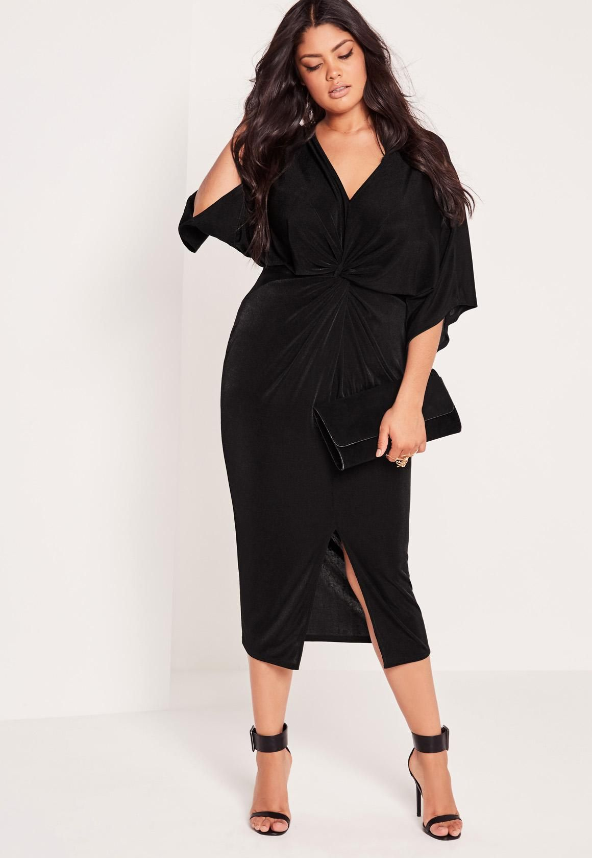 Curve Slinky Kimono Midi Dress Black | Midi dresses, Missguided ...