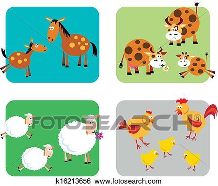 حيوان المزرعة العائلات Clip Art K16213656 In 2021 Kids Rugs Decor Kids