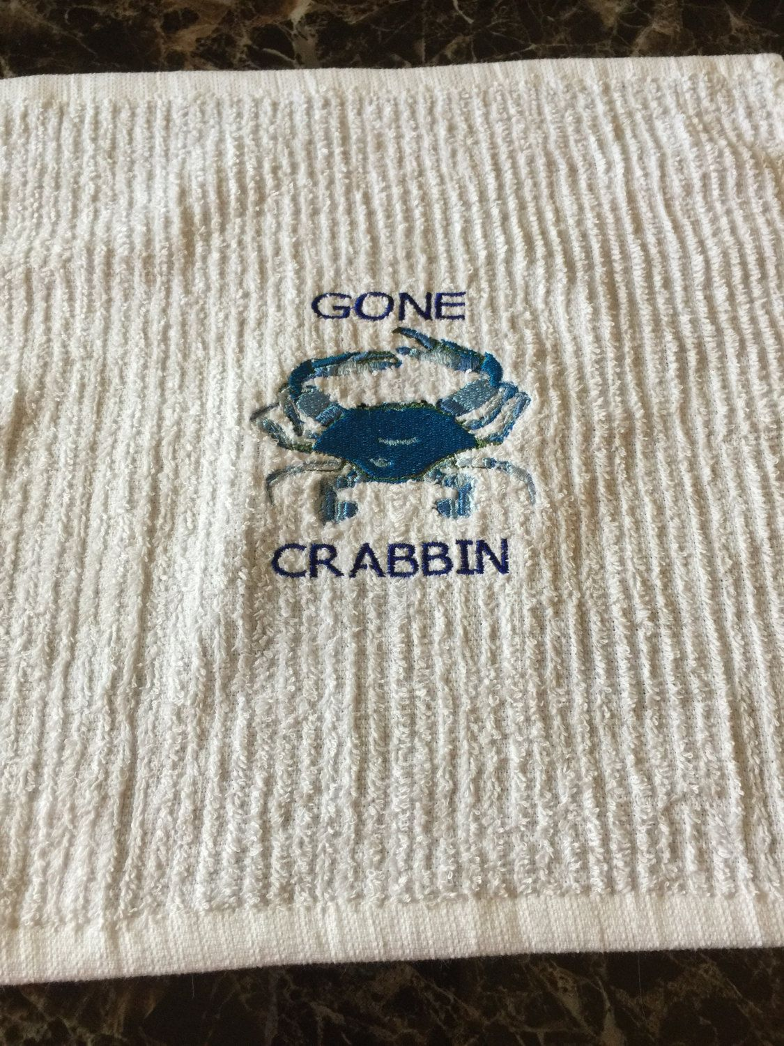 Custom Embroidered Gone Crabbin Towel by DsDesignsUnlimited