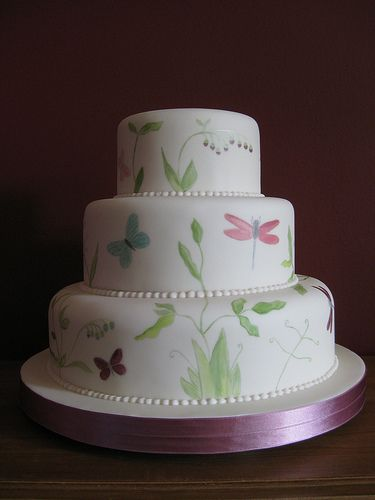 cake: hand painted with dragonflies & butterflies