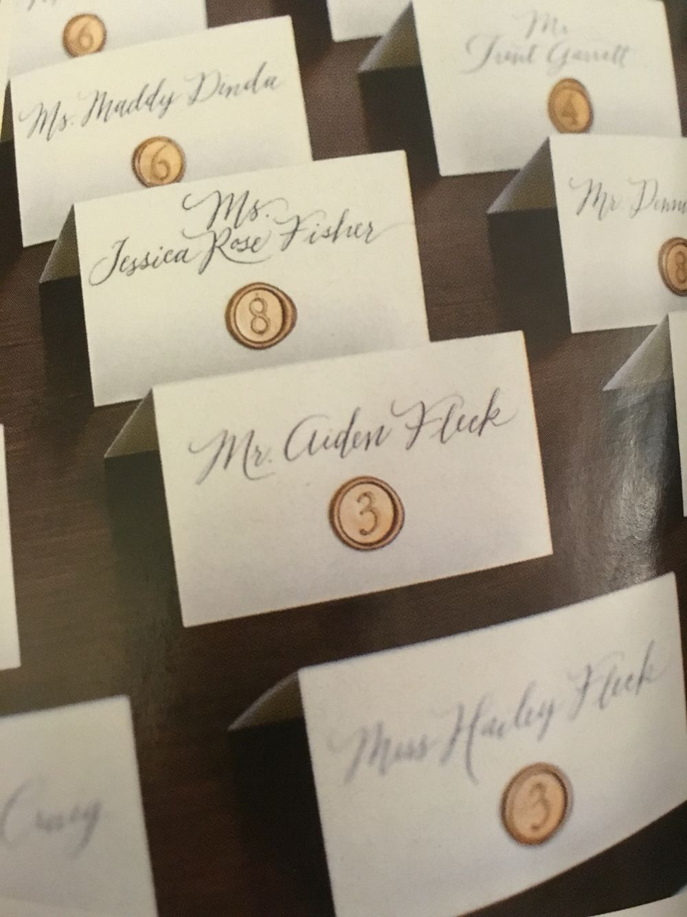 Calligraphed Escort Cards Adorned with Wax Seals