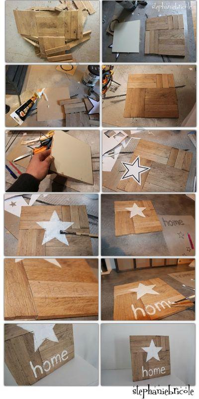 Diy d co r cup une d co murale avec des petites planches for Decoration murale etoile