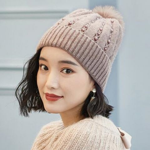 a59313b9c1b Beaded knitted bobble hat for women removable fur pom pom winter hats