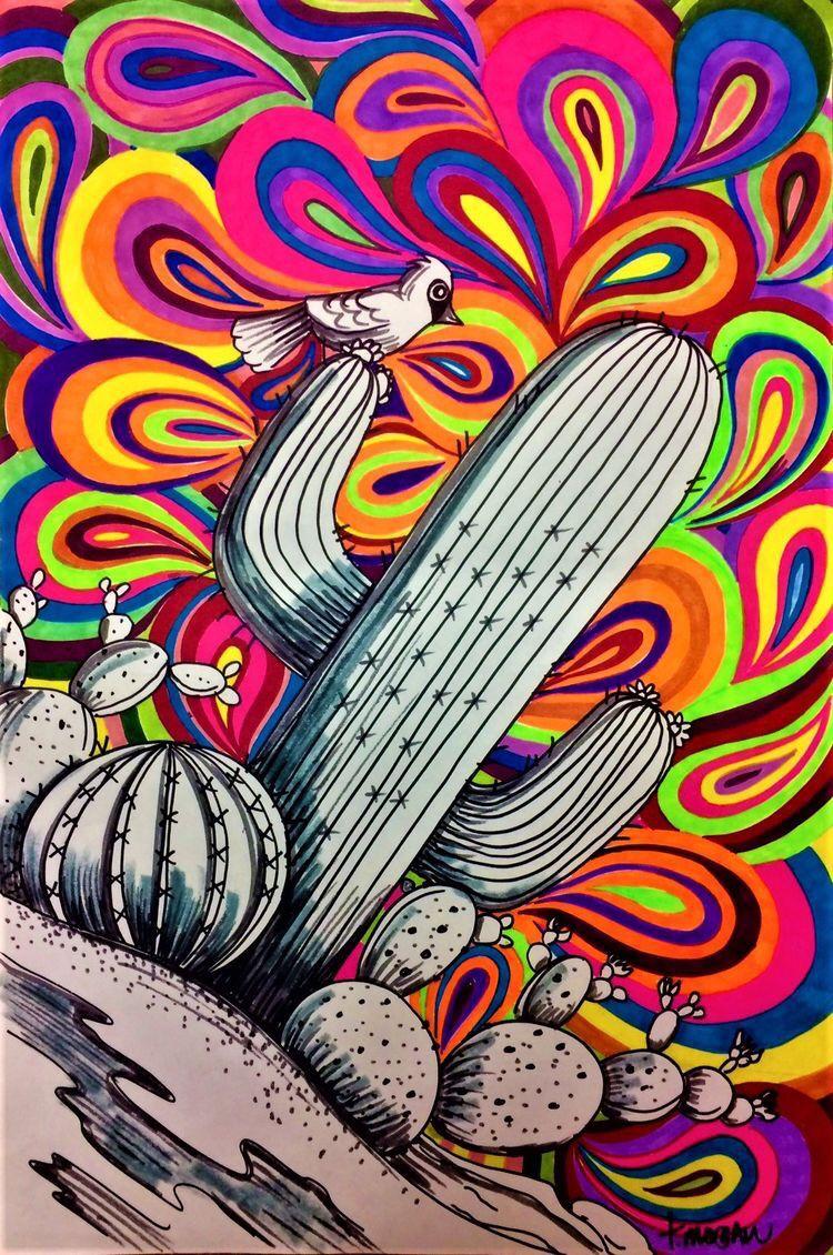 foto de Fondos Cactus 🌵 Dibujos psicodélicos Dibujos trippy