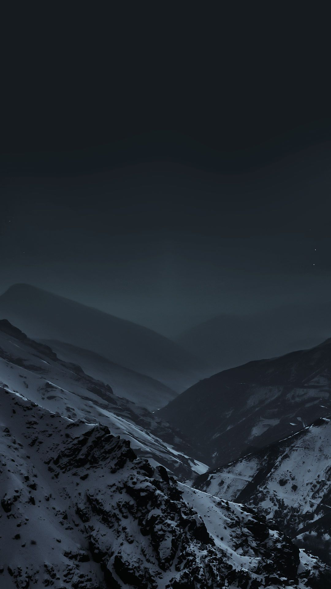 mountains at night fog snow android wallpaper