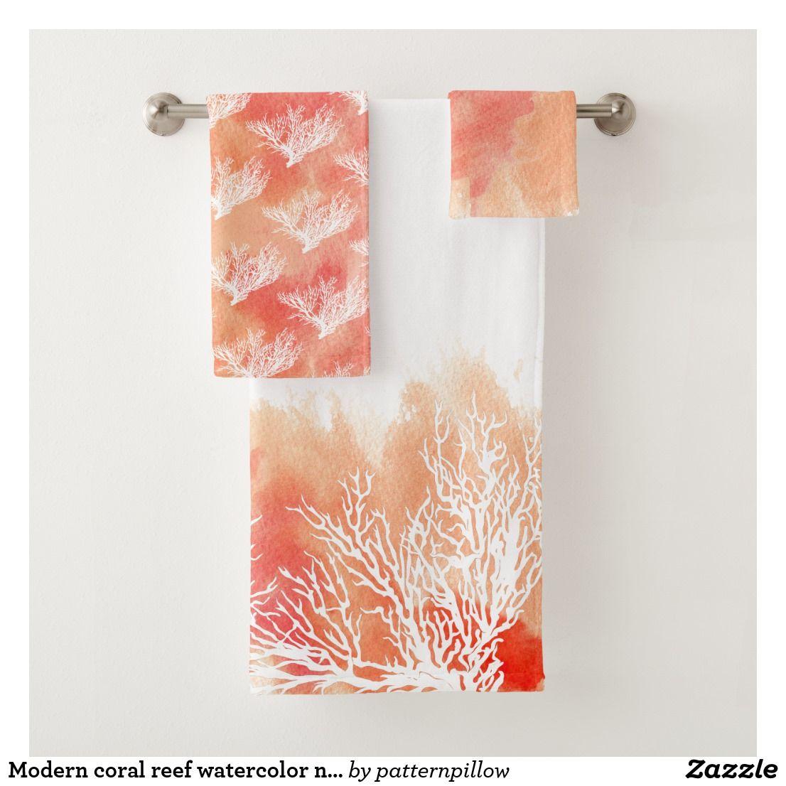 Modern Coral Reef Watercolor Nautical Monogram Bath Towel Set