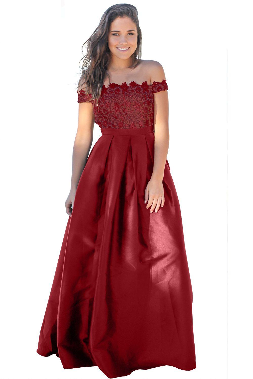 6fd3373de5435 Claret Crochet Top Pleated Waist Flared Maxi Evening Dress only US ...