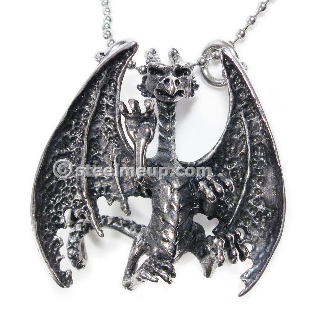 Stainless steel big dinosaur pterosaur fly dragon men biker pendant