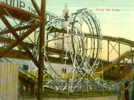 1898 – Edwin Prescott built the Loop the Loop at Coney Island. This ride used the modern teardrop-shaped loop and a steel structure, however more people wanted to watch the attraction, rather than ride.