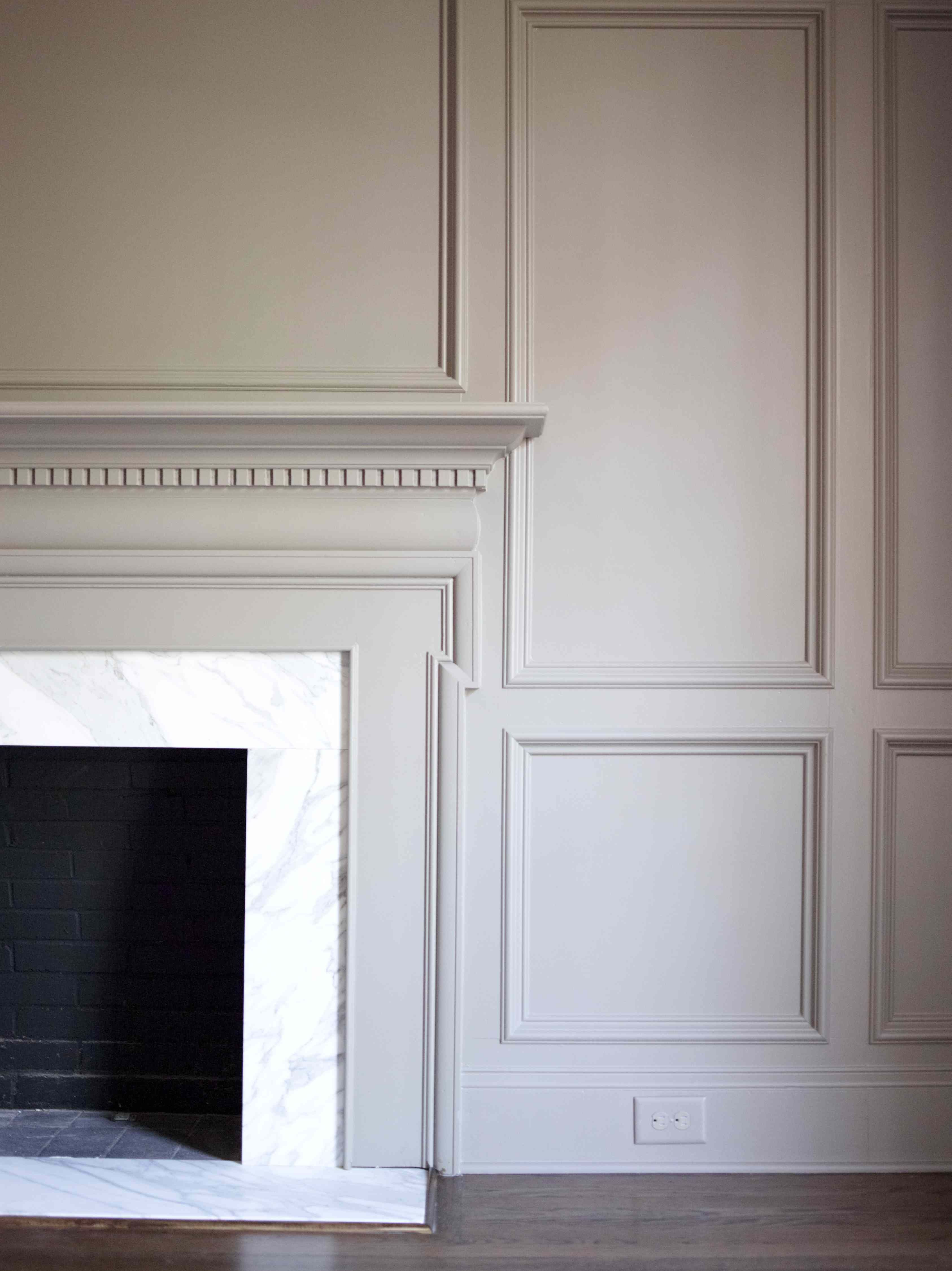 FIREPLACE Mantel surrounded by panel walls #millwork - paint ...