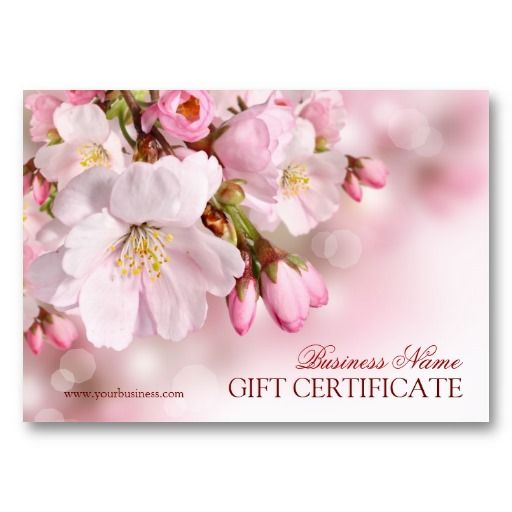 Blank Spring Blossom Gift Certificate Template Business Card - cute gift certificate template