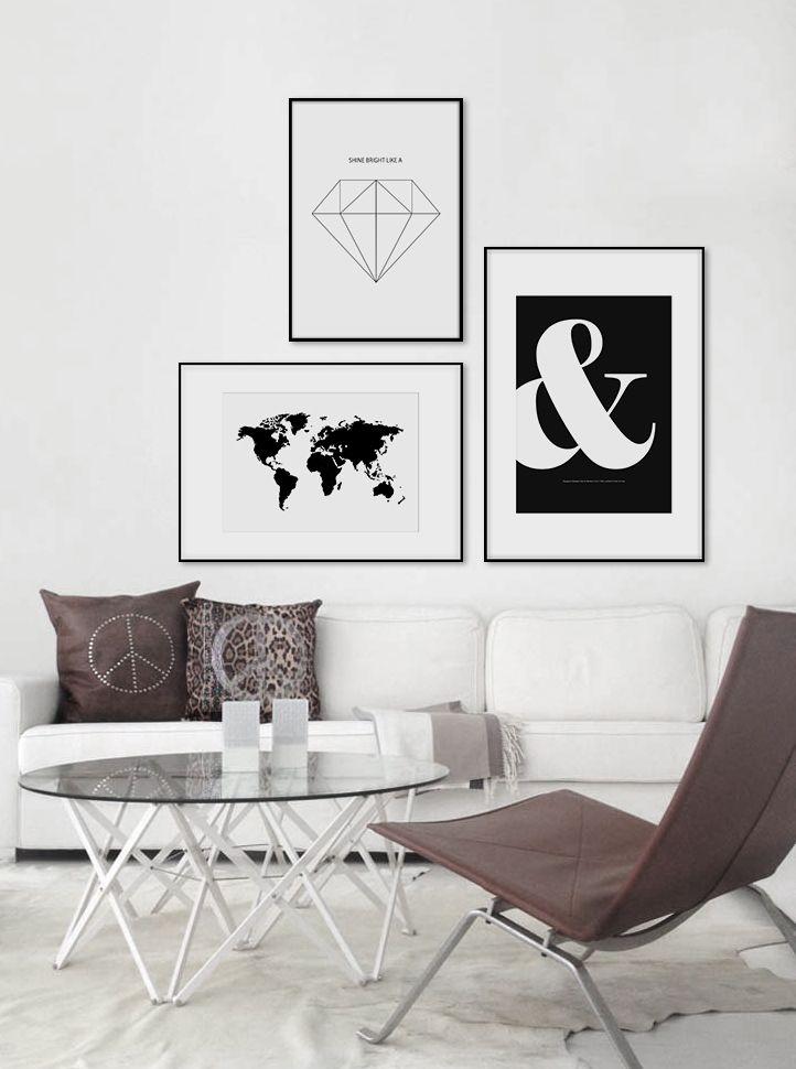 black and white world map art poster diamond www. Black Bedroom Furniture Sets. Home Design Ideas