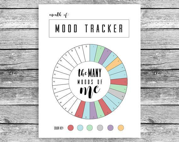 Monthly Mood Tracker Circle, Happy Planner Classic, Mood Chart
