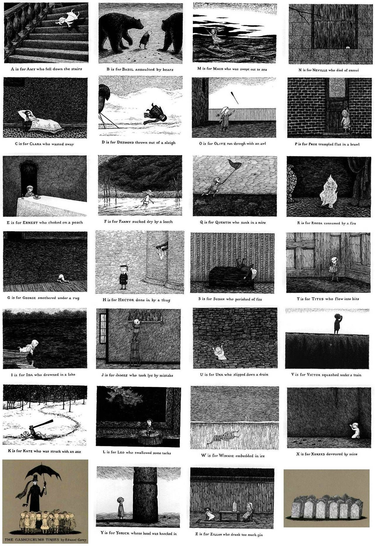 Edward Gorey illustration F IS FOR FANNY Gashlycrumb Tinies macabre art print