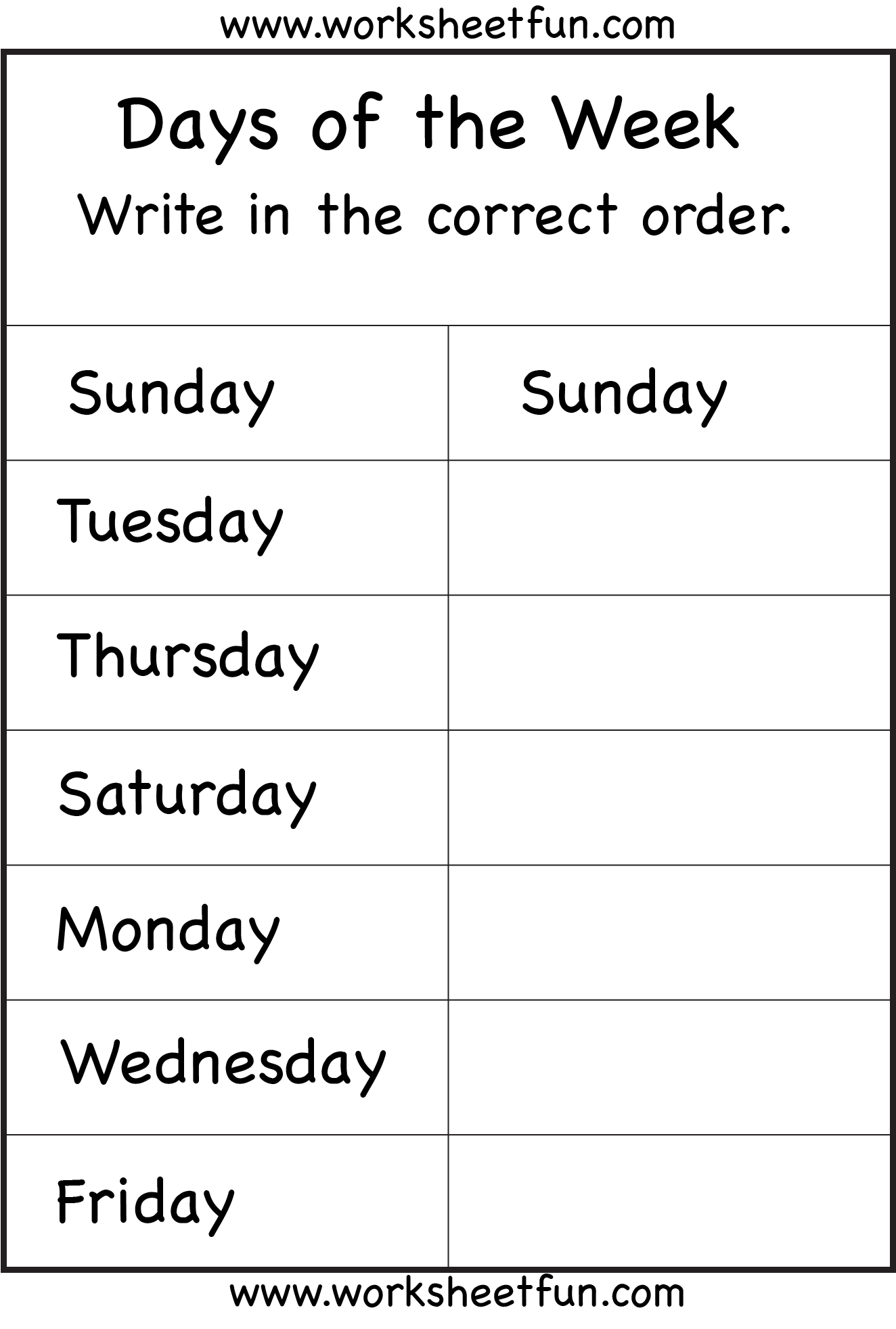 Days Of The Week 1 Worksheet