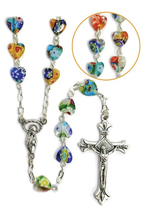 Michael medal glass rosary beads gold tone chain red green blue Crown of St