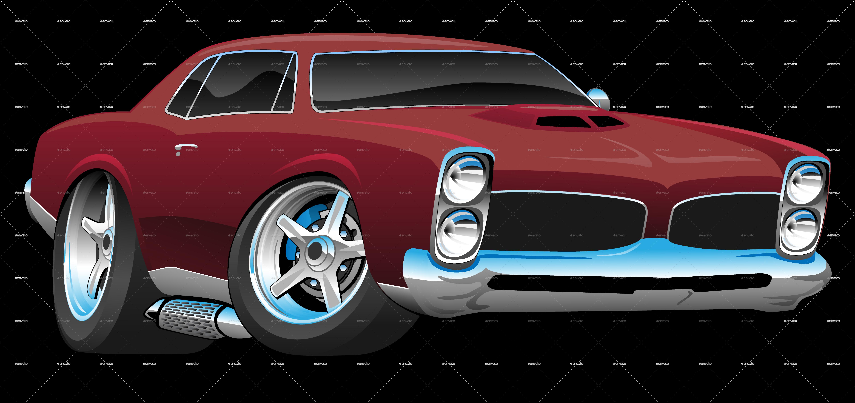 Classic American Muscle Car Cartoon American Classic Muscle