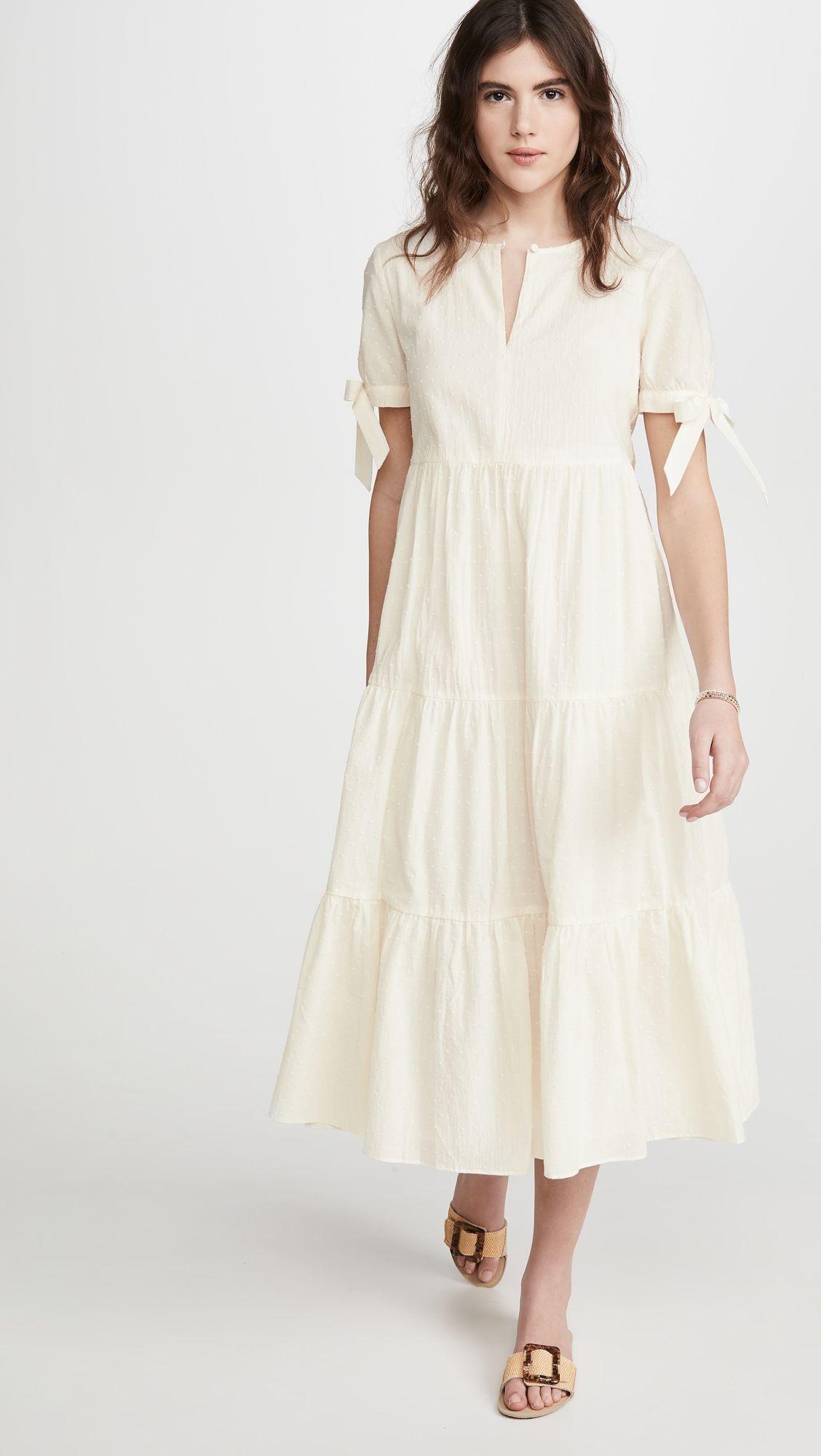 Madewell Tie Sleeve Tiered Midi Dress In Swiss Dot Tiered Midi Dress Midi Dress Dresses [ 2000 x 1128 Pixel ]