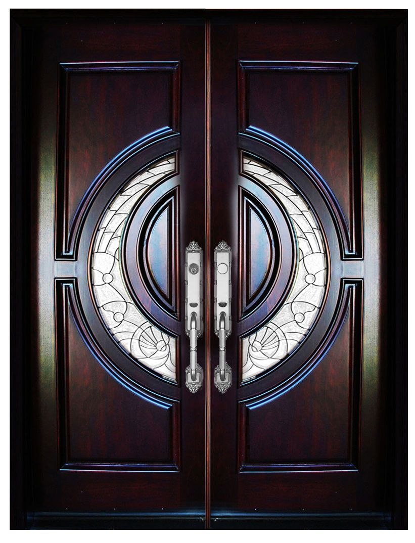 This Door Unit Comes In Mahogany Wood It Is 65 1 4 Wide Two 32 Doors By 81 Tall And Has Wooden Front Door Design Main Door Design Front Door Design Wood