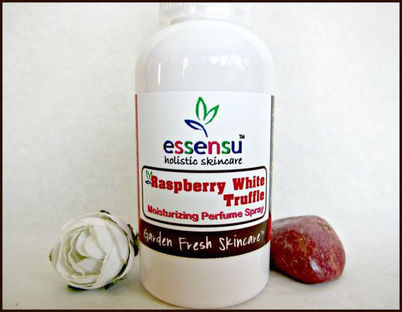 Raspberry White Truffle Hydrating Perfume Body Mist by essensu. All natural preservative. #vegan #perfume #fragrance