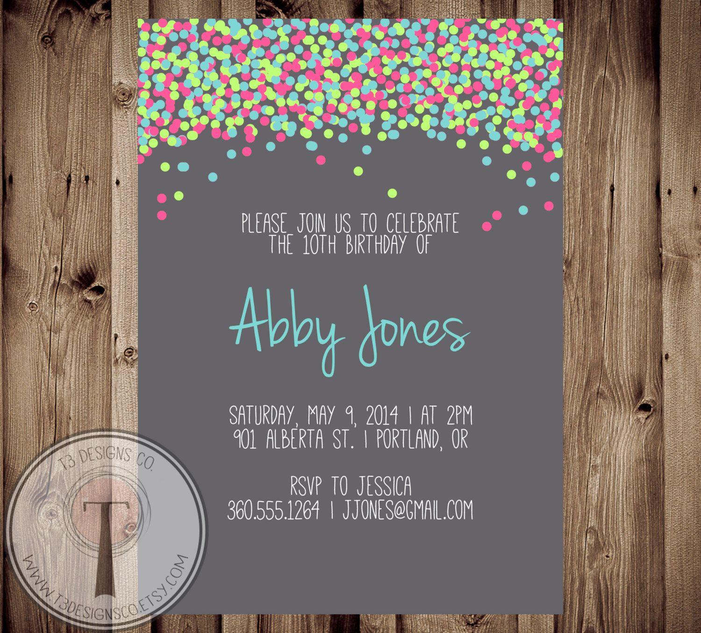 Confetti birthday invitation bright birthday invite girls