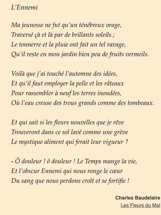 L Ennemi Dans Ma Vie : ennemi, L'ennemi, Charles, Baudelaire, Poetry