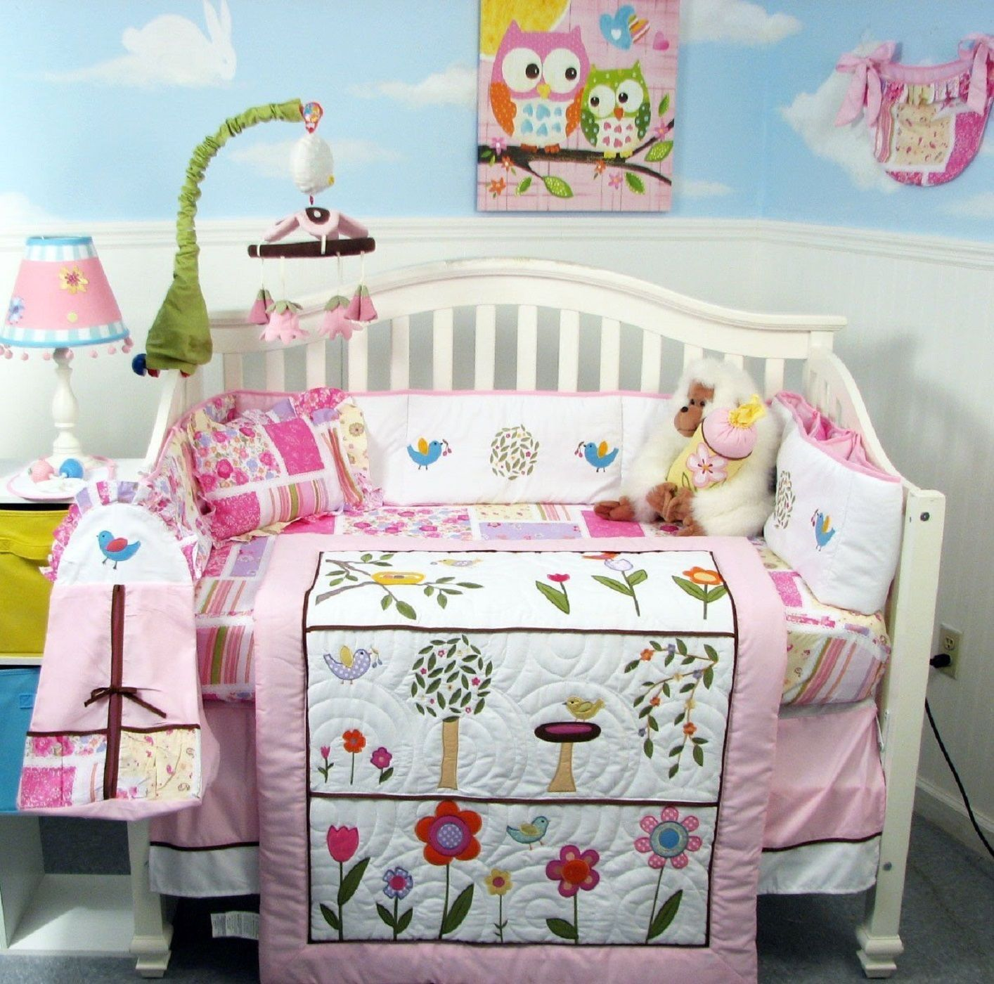 PINK CRIB BEDDING SET FLOWER GARDEN Infant Baby Girl Nursery 13 Pc Q