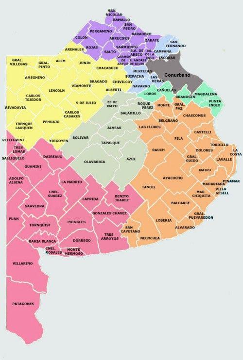 Mapa De Los Municipios De Prov Buenos Aires Argentina Buenos Aires Argentina Mapa De Argentina