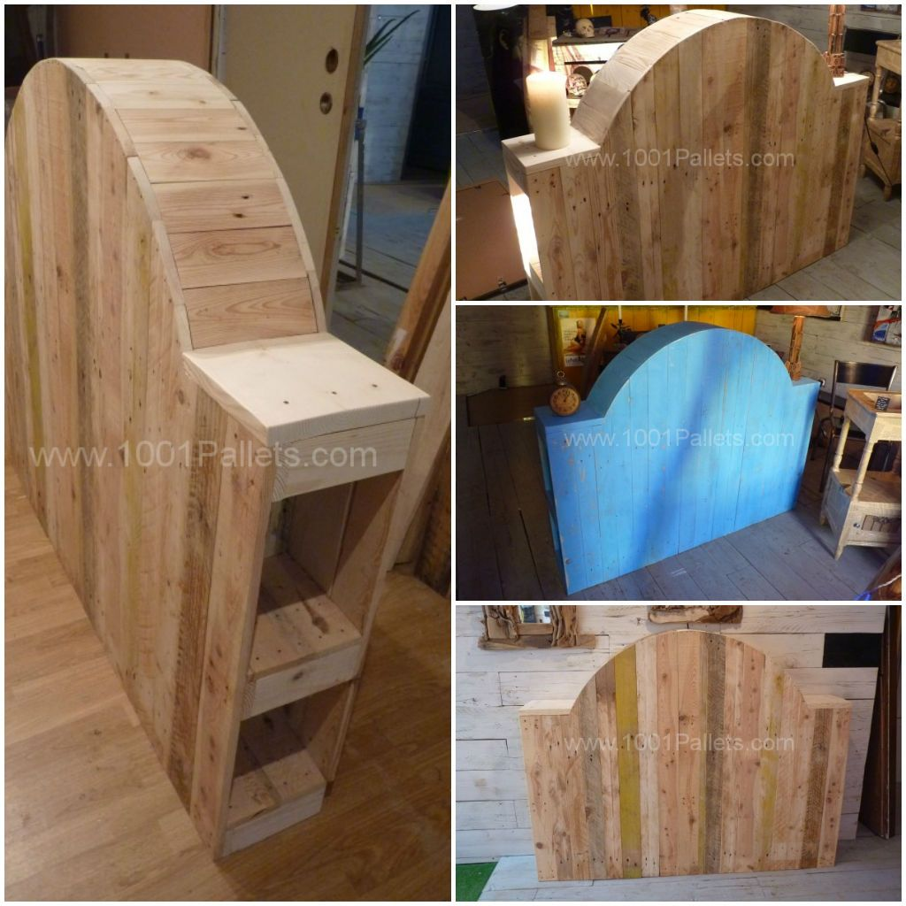 t te de lit en bois de palette pallet bed headboard from recycled pallets ideas. Black Bedroom Furniture Sets. Home Design Ideas