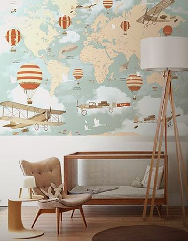 Love This Vintage Style Travel Theme Wallpaper With This Modern Neutral Nursery Decor Little Hands Wallpaper Baby Boy Nurseries Baby Boy Rooms