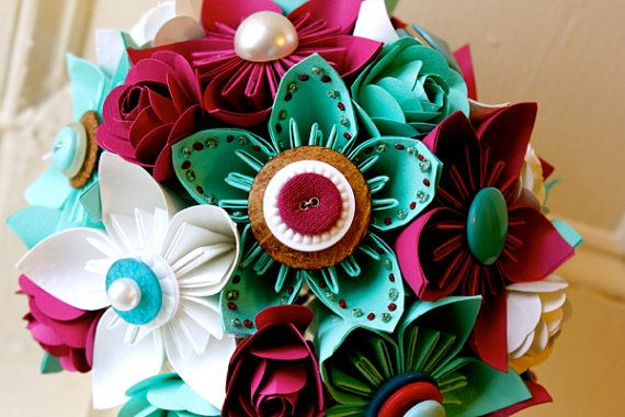 I like these colors. Paper Flower Bouquet Wedding Green Fuchsia by TheLittleRedButton, $120.00