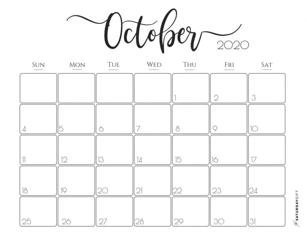 Cute October 2020 Calendar Di 2020 Perencanaan Kalender Brosur