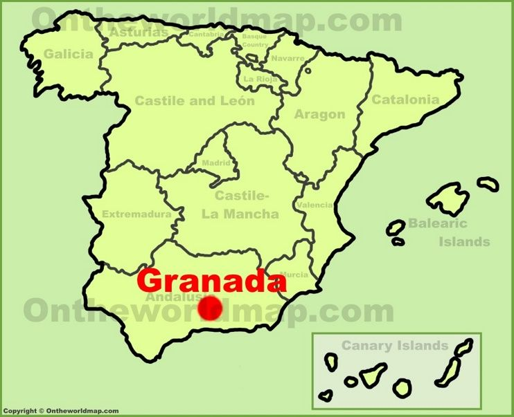 Granada Location On The Spain Map Maps Pinterest Map Spain