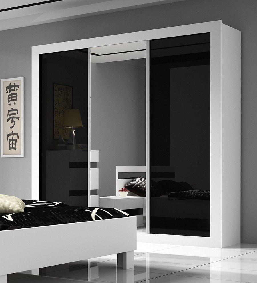 chambre adulte complète design blanc et noir laqué milan | bedroom