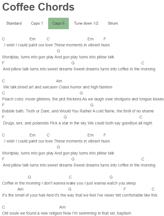 Coffee Chords Miguel Music Sheets Pinterest Coffee Pianos And