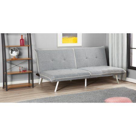 Mainstays Extra Large Futon With Contrast Piping Grey White Gray Bunk