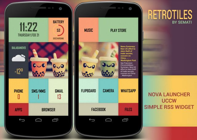 Retrotiles Android Homescreen By Semati Mycolorscreen Homescreen Android Design Android Theme