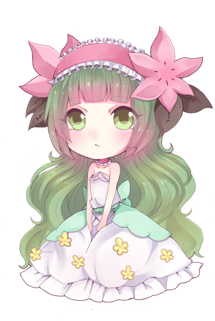 1girl asame21 blush dress flower frown full_body green