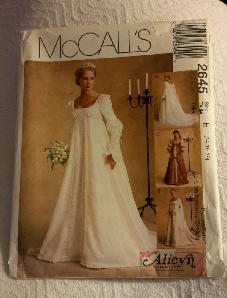 Pattern Renaissance Medieval Bridal Gown size 14-16-18 McCalls ...