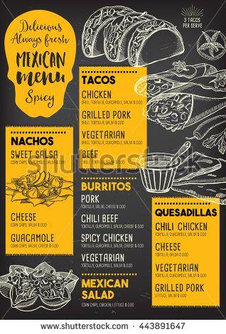 mexican menu placemat food restaurant menu template design vintage