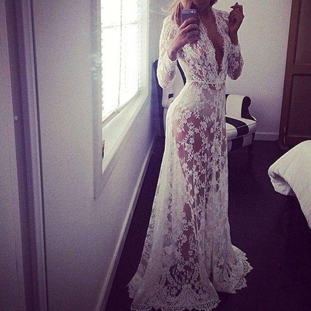 2016 verão estilo europeu Womens Sexy Lace bordados Maxi sólidos vestido branco longo da luva profundo decote em V Vestidos Plus Size S-XL
