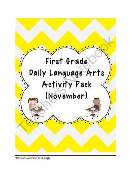 1st Grade Language Arts Worksheet Pack November Common