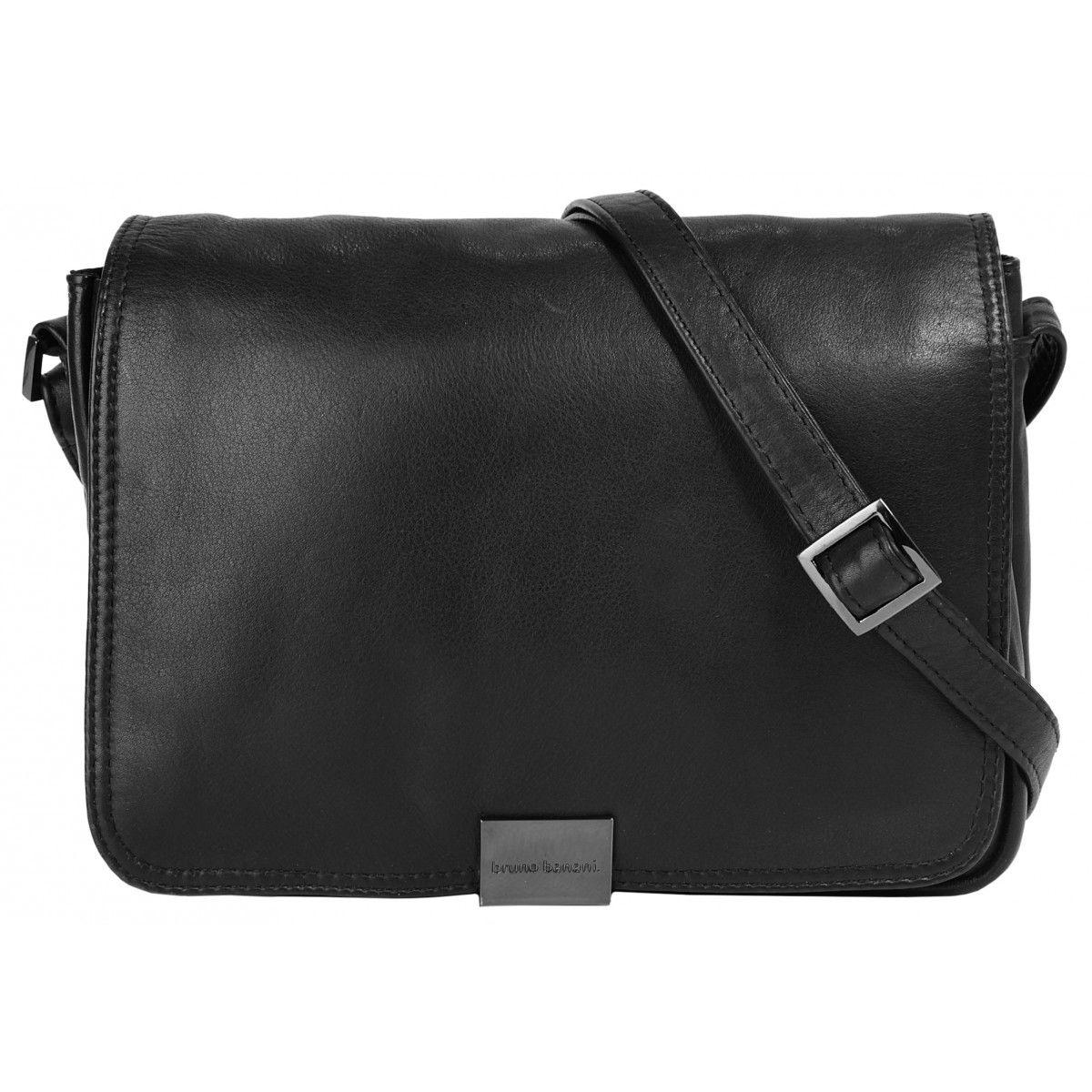 2f3e2de095e68 schicke schwarze Leder Damen Umhängetasche aus weichem Leder von Bruno  Banani