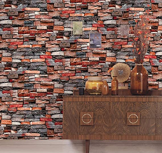 Homeme 3d Brick Stone Wallpaper 236 2 X 17 7inch Self Adhesive Contact Paper Peel And Stick Wallpaper Wit Faux Stone Wallpaper Stone Wallpaper Brick And Stone