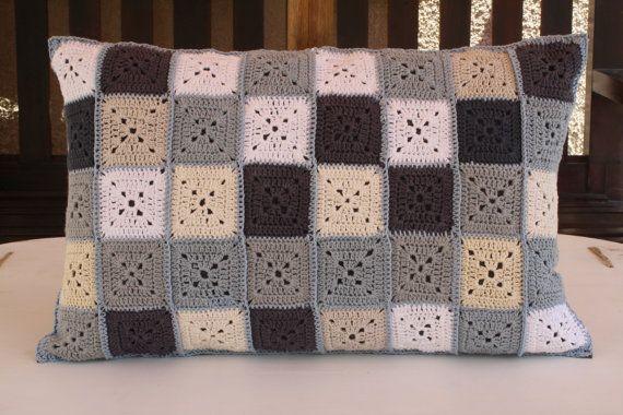 Crochet rectangular pillow small granny by Crochetonthebeach, $78.00