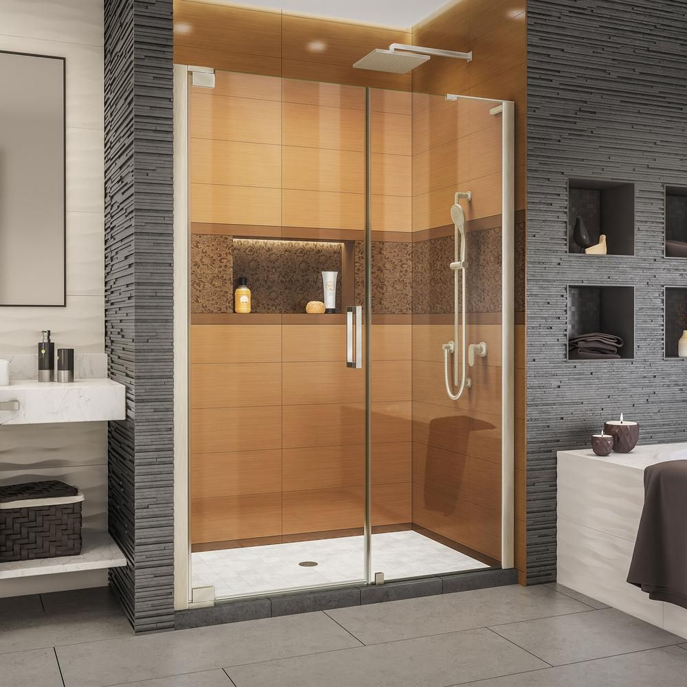 Dreamline Elegance Ls 52 1 2 In To 54 1 2 In W X 72 In H Frameless Pivot Shower Door In Brushed Nickel Shdr 4330240 04 Shower Doors Bathroom Shower Doors Black Shower